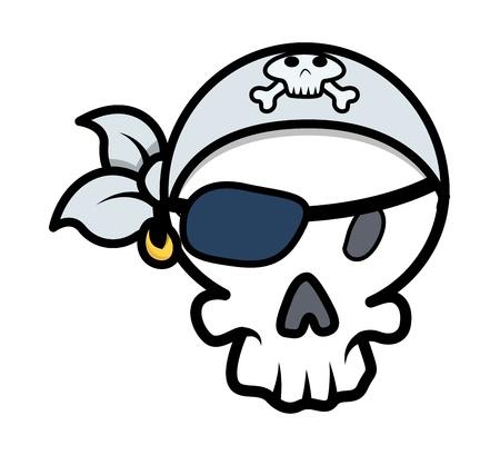 pirate skull - Vector Cartoon Illustration Vector