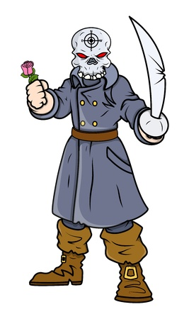 battle evil: captain pirate with sword and rose - Vector Cartoon Illustration