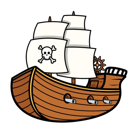 jolly roger pirate flag: Pirate Ship Vector Illustration
