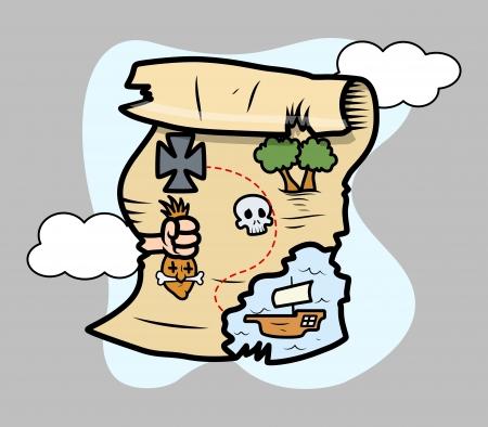 treasure island map - Vector Cartoon Illustration Stock Vector - 21505815