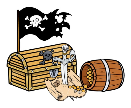 jolly roger pirate flag: pirate treasure - Vector Cartoon Illustration