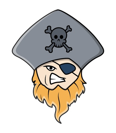 eye patch: pirate captain with eye patch - Vector Cartoon Illustration Illustration
