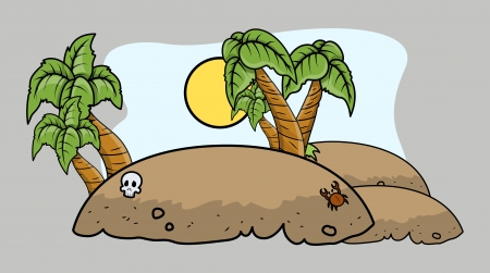tropical pirate island - Vector Cartoon Illustration Vector