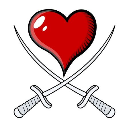 crossed sword heart - Vector Cartoon Illustration Vektorové ilustrace
