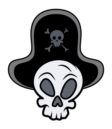 captain pirate skull - Vector Cartoon Illustration Vector