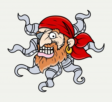 creepy octopus head pirate creature - Vector Cartoon Illustration Vector
