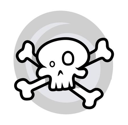 croosed skull - Vector Cartoon Illustration Vector