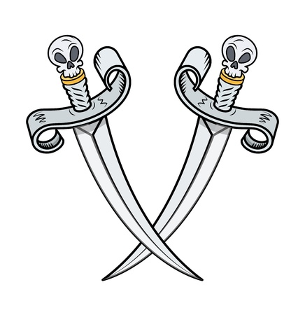 crossed vikings swords - Vector Cartoon Illustration Vector