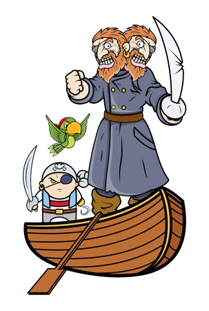 Pirate Captain and Team on Boat - Vector Cartoon Illustration Vector