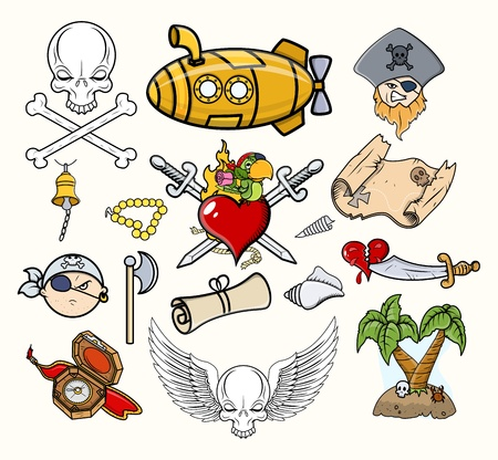 Pirate Vector Illustrations   Cartoon Icons Vector