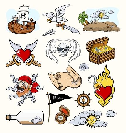 secret love: Piratas del vector ilustraciones de iconos de dibujos animados Vectores