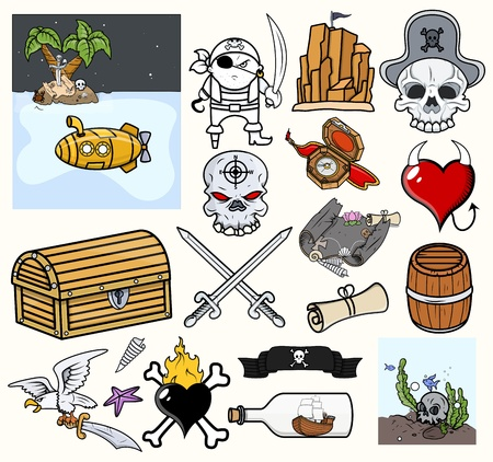 Pirate Vector Illustrations   Icons Vector