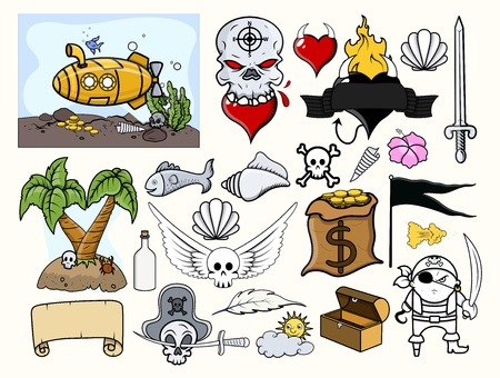 Pirate Vector Illustrations Set Vector