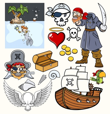 Pirates Vektor Illustrationen Set