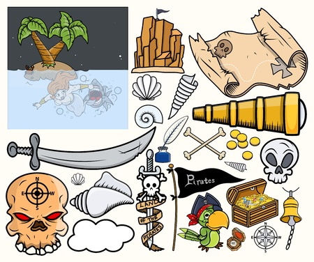 Pirate Treasure Hunt Vector Illustrations Set Illustration