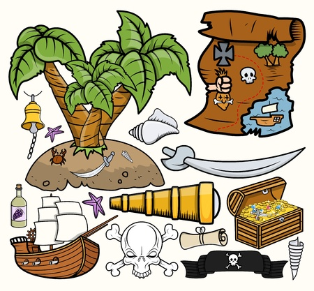 Pirates Treasure Hunt Vector Illustrations Set Vector