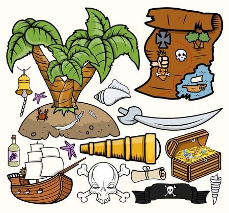map wine: Pirates Treasure Hunt Vector Illustrations Set Illustration