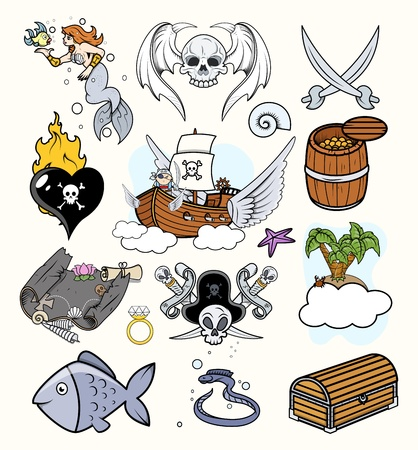 Pirates Vectors Set Vector