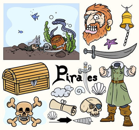 Pirate Cartoon Vectors Set Vector