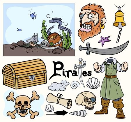 Pirate Cartoon Vectors Set Stock Vector - 21505905