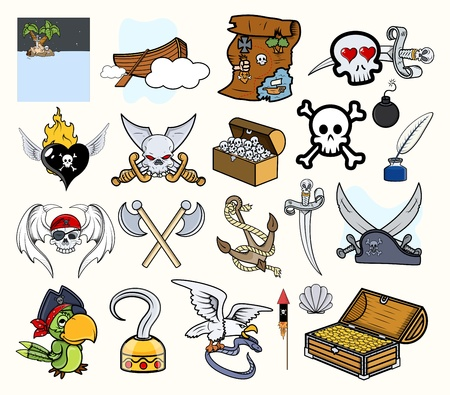 sea snake: Pirate Cartoon Vectors Set