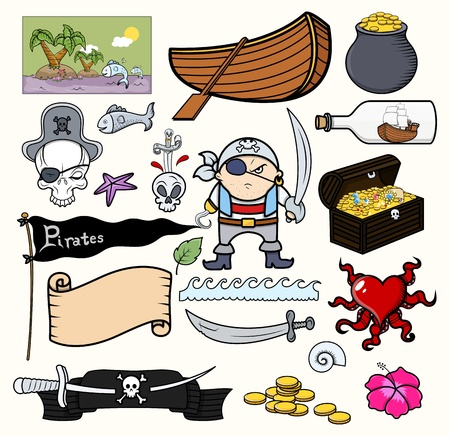 island clipart: Pirate Cartoons Vector Illustration