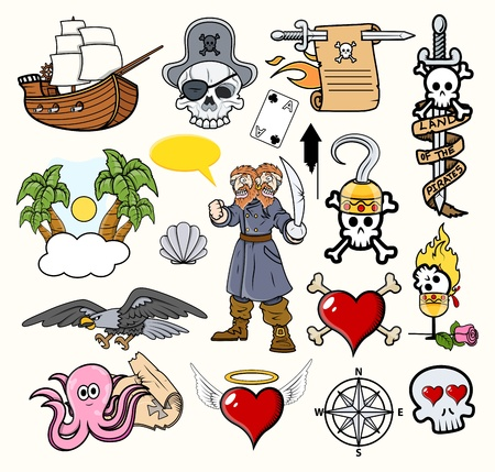 Pirate Cartoons Vectors Vector