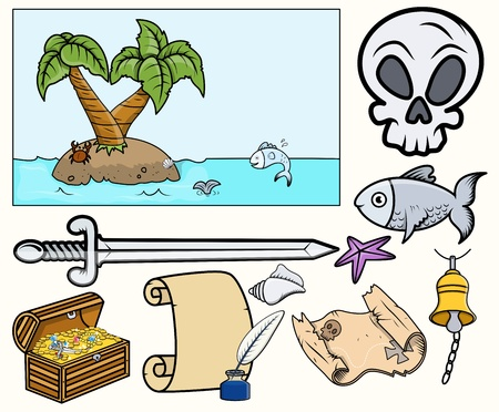 Pirate Illustrations Set Vector