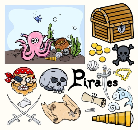 Pirates Vector Elements - Treasure Hunt Vector