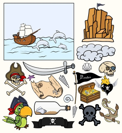 Pirates Elements Vector Set - Treasure Hunt Vector