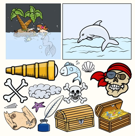 Piratas Elementos Vector - Treasure Hunt