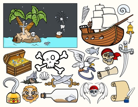 sea robber: Pirate Story Characters Vectors Illustration