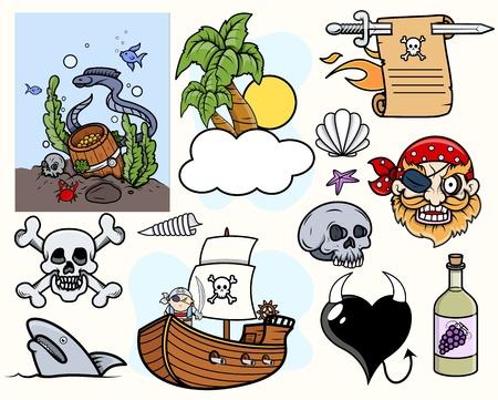 coral snake: Pirate Story Cartoon Vectors