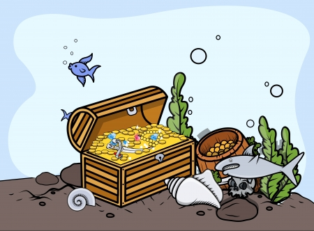 Sunken Treasure - Vector Illustration Vector