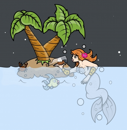 Mermaid Wondering on Tropical Island - Vector Illustration Vector