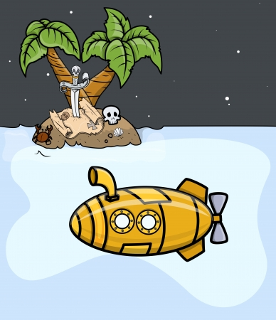 Submarine Trying to Find Treasure - Vector Illustration Vector