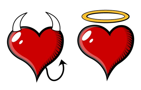Good and Bad Heart - Vector Illustration Vector