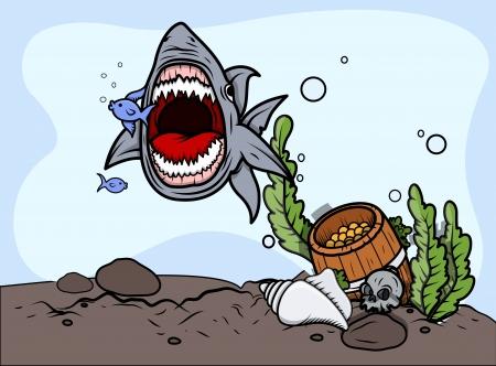 Shark Catching Fish - Vector Illustration Vector
