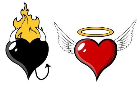Angel and Evil Heart - Vector Illustration Vector
