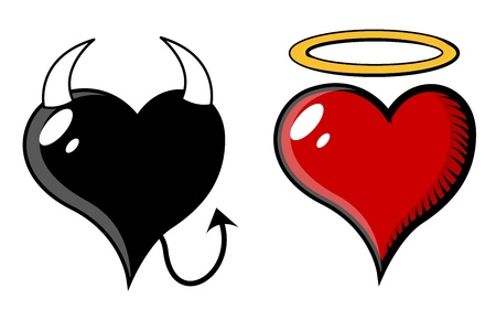 the enemy: Devil and Angel Heart - Vector Illustration