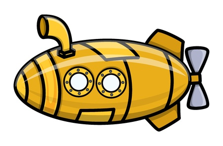 cruise missile: Cartoon Vector Submarine Illustration