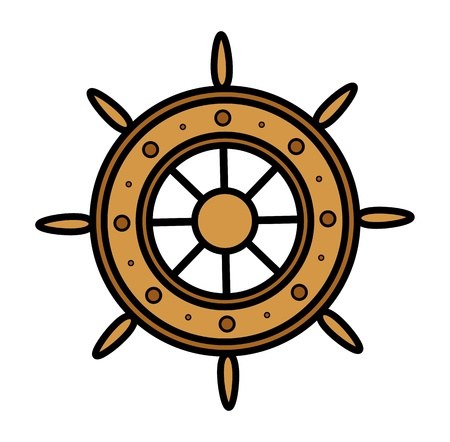 Old Ship Wheel - Vector Illustration Vector