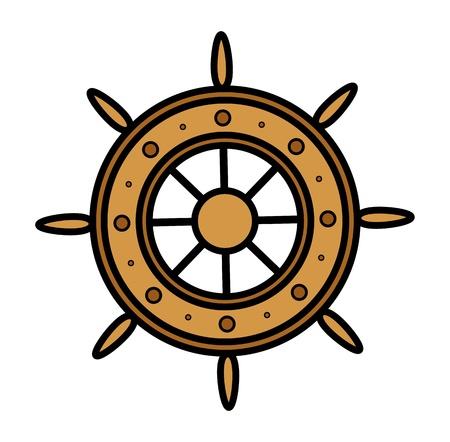 sea port: Old Ship Wheel - Vector Illustration Illustration