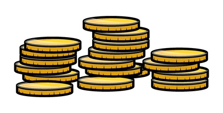 coin stack: Gold Coin Stack - Vector Illustration