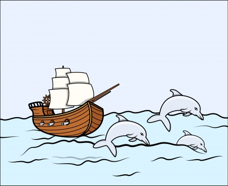 Ancient Ship with Dolphins - Vector Illustration Vector
