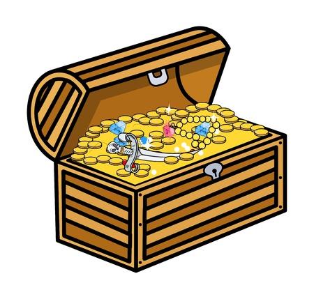 Treasure Box - Cartoon Vector Illustration Vector