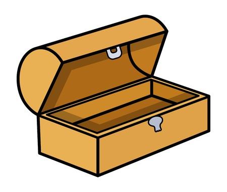 coffer: Empty Treasure Box - Cartoon Vector Illustration