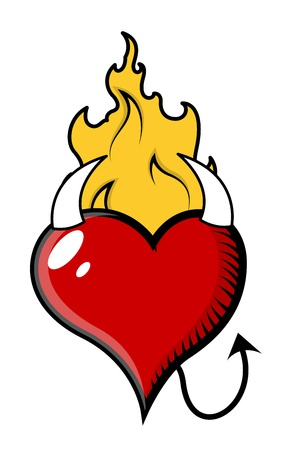 Devil Heart with Fire - Vector Illustration Vector