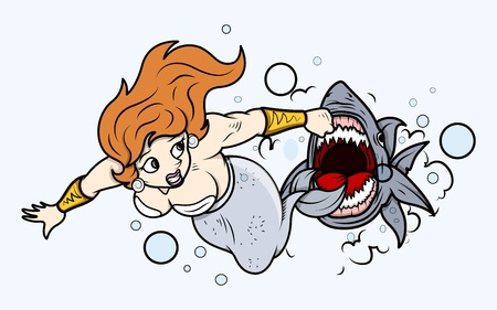 Shark Attack to Mermaid Under Sea - Vector Illustration Vector