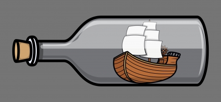 Old Ship in Bottle - Vector Illustration Vector